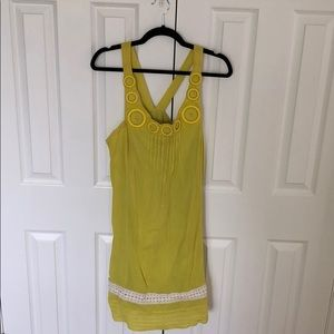 Chartreuse crepe sundress from Anthropology